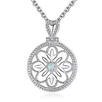 GemShadow women girls 925 sterling Silver Hollow Flower created opal necklace