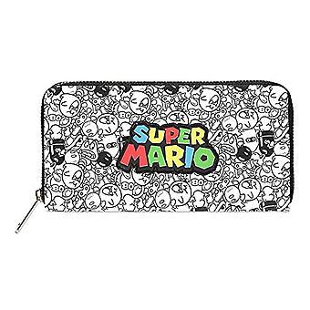Nintendo Super Mario Bros. Logo with all-Over Villain Characters Print Zip Around Purse Wallet, Travel Accessories-Wallet Ref. 8718526121155