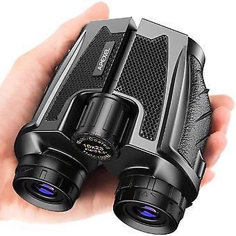 Binocolo compatto 10x25 con binocolo impermeabile per visione notturna, binocolo ad alta potenza per birdwatching, caccia all'aperto, visite guidate (nero)