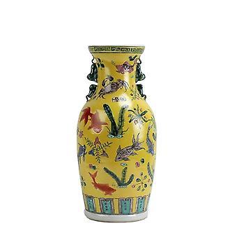 16.5 inch Jingdezhen Yellow Famille rose hand painted fish design Porcelain Vase
