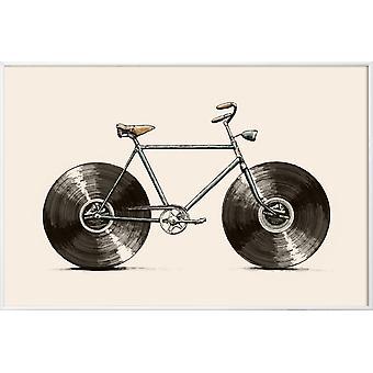 JUNIQE Print - Velophone - Cykelaffisch i gräddvit & grå