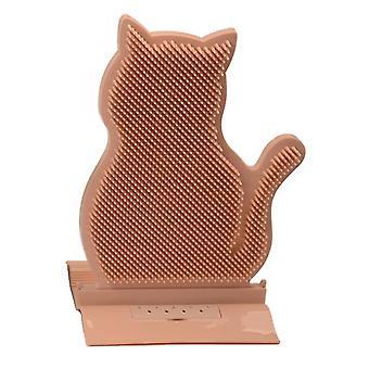 Pembe kedi az4648 üzerinde kaşıntı kapı rahatlatmak için saç ovuşturur