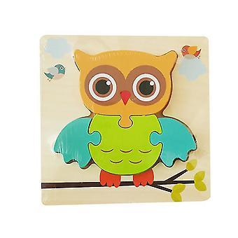 2Pcs owl children's wooden 3d geometric puzzle, baby jigsaw building blocks educational toy az1707