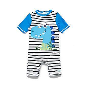 Baby Boys One Piece Swimsuits UPF 50+ Sun Protection S/S YKK Snap Sunsuit Free Sun Hat