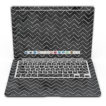 Fekete akvarell fehér Chevronnal - Macbook Air bőrkészlet