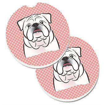 Caroline's Treasures Checkerboard Pink White English Bulldog Set di 2 Cup Holder Car Coasters BB1220CARC, 2.56, Multicolor