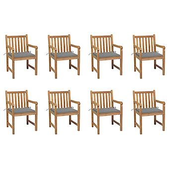 vidaXL Garden Chairs 8 pcs. with Grey Cushion Solid Wood Teak