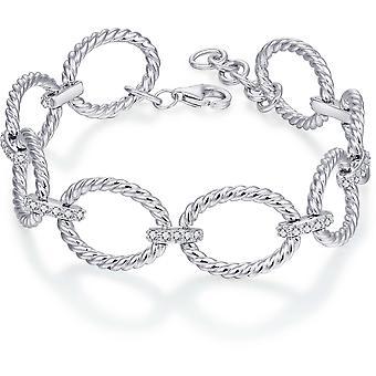 Gisser Jewels - Pulsera - con set Twisted Link con Piedras Zirconia - 14mm De ancho - Longitud 17+3cm - Gerhodineerd Zilver 925
