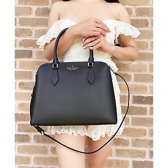 Kate pá darcy grande top zip satchel crossbody couro preto