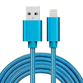 2m 3A Gewebter Stil Metallkopf 8 Pin zu USB Daten / Ladegerät Kabel, für iPhone X / iPhone 8 & 8