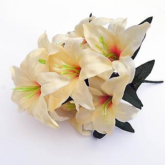 2pcs Artificial Lily 10 Heads Fake Lily Artificial Flower Wedding Party Decor(Champagne)