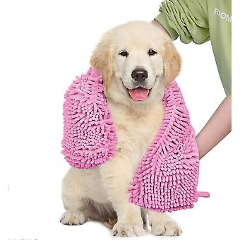 2X dog towel ultra absorbent super shammy with hand pockets, quick dry soft microfiber chenille material pet bath towels, pink