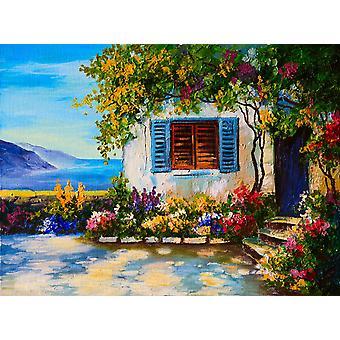 Tapetmaleri oljemaleri av et vakkert hus nær sjøen