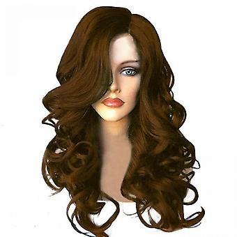 Stylish Womens Brown Black Red Full Long Wavy Curly Hair Wig Party Cosplay