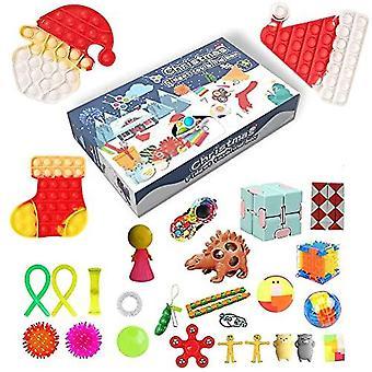 Fidget Calendrier de l'Avent 2021 Calendrier de Noël Compte à rebours 24 Jours Pas Cher Pop Bubble Sensory Fidget Toys Set