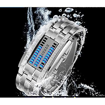 Deep Impermeable Fecha Creativa Digital Led Acero Luminoso Hombres Mujer Pulsera Moda Reloj Chic