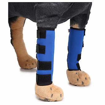 Pet Knee Pads With Support Bands Dog Leg Guards Dog Legs Pet Protector Dog Surgery Injury Cover (blue S)