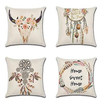 Oreiller décoratif couvre design rose clair, ensemble de 4 polyester doux