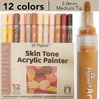 12色水ベース塗装アクリルマーカーペンDIYスキンカラーセット学生の子供手描き落書きペン