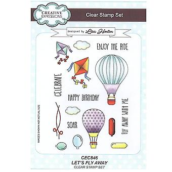 Creative Expressions Let's Fly Away A5 Clear 16 Stamp Set*^^