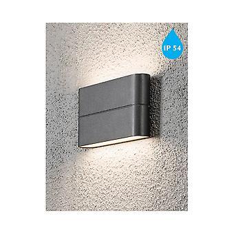 Konstsmide Chieri Rectangular Wall Washer Garden Wall Light, Grey