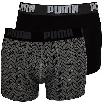 Escritos del boxeador de impresión gráfico 2-Pack de Puma, gris Melange / negro
