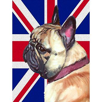 Fransk Bulldog Frenchie med engelsk Union Jack britiske flagg flagg lerret hus S