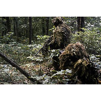 A Marine sniper team wearing camouflage ghillie suits Poster Print by Stocktrek Images