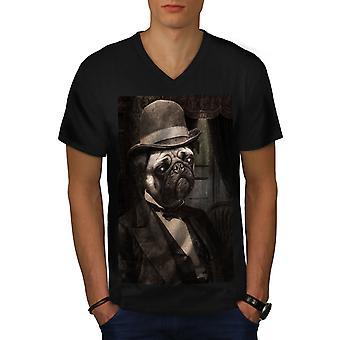 サーパグかわいいフーニードッグメンブラックVネックTシャツ|ウェルコダ