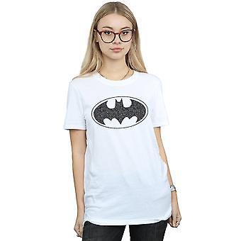 DC Comics naisten Batman yksi väri logo poika ystävä Fit T-paita
