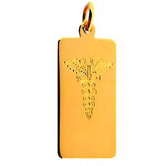 18ct Gold 26x13mm hand engraved rectangular medical alarm Disc