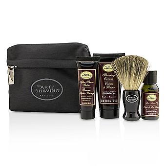 Die Kunst der Rasur Starterkit - Sandelholz: Pre Shave Öl + Rasierschaum + nach Shave Balm + Pinsel + Tasche - 4pcs + 1Bag