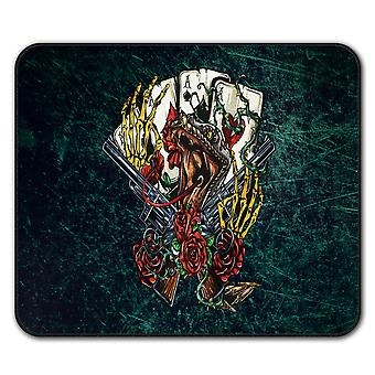 Creepy Poker Card  Non-Slip Mouse Mat Pad 24cm x 20cm | Wellcoda
