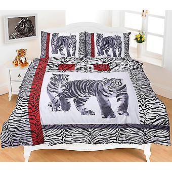 Dyr Tiger multi sort hvid 3D-effekt dynebetræk sengetøj sæt pudebetræk