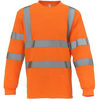 Yoko Mens Hi Vis Long Sleeve Soft Feel Polyester Safety T Shirt