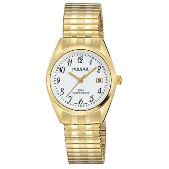 Пульсар Мужская Золотой тон нержавеющей стали белый циферблат PH7444X1 часы