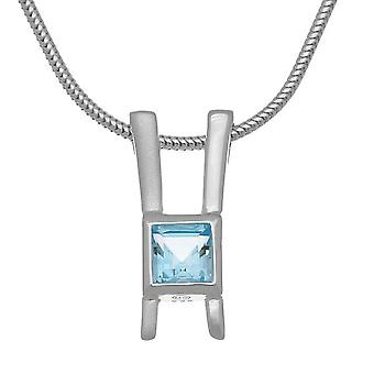 Sterling Silver Scottish November Birthstone Hand Crafted Necklace Pendant - Blue Topaz - CP337