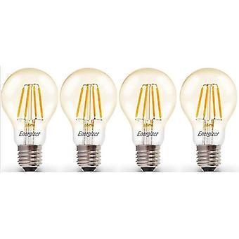 4 X Energizer 6.2W = 60W LED Filament GLS Light Bulb Lamp Vintage ES E27 Clear Edison Screw [Energy Class A+]