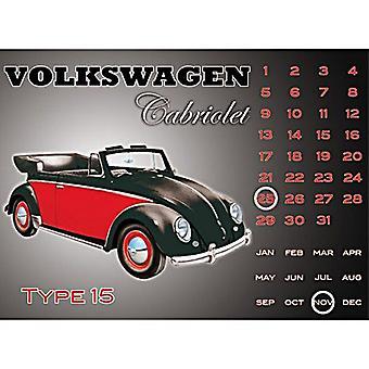 VW Volkswagen Beetle Cabriolet eviga stålvägg kalender