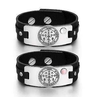 Erzengel Uriel Sigil Liebe Paare weiße Rosa simulierten Katzen Auge Amulett aus schwarzem Lederarmbänder