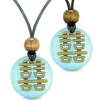 Kaksinkertainen onni rakkaus parit Yin Yang valtuudet Fortune amuletit Sky Blue Cats Eye mitali kaulakorut
