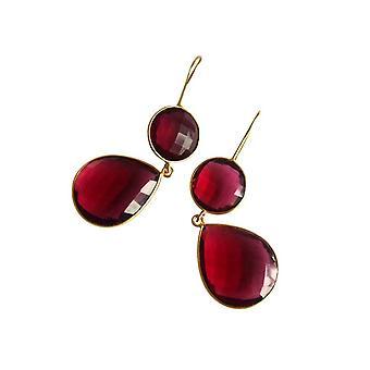 Gemshine - Damen - Ohrringe - 925 Silber - Vergoldet - Quarz - Rot - CANDY