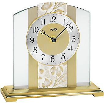 AMS table clock quartz base metal mineral glass with polished brass