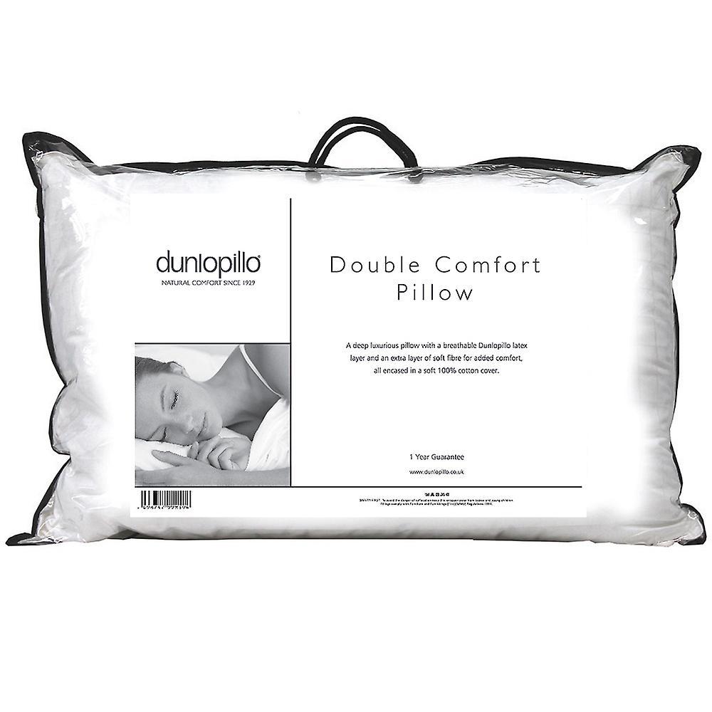 Dunlopillo Double Comfort Pillow Latex Soft Spiral Fibre Luxury Medium Support
