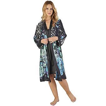 Slenderella GL2785 naisten eläinten Satiini kukka kimono ja Chemise Set