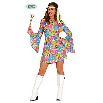 Guirca hippie costume with colorful symbols for ladies Carnival themed party flower power hippy