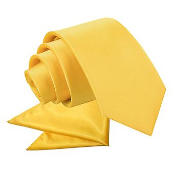 Marigold Plain Satin Tie & Pocket Square Set for Boys