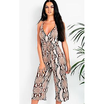 IKRUSH Womens Deedee Snake Print Tie Waist Cropped Jumpsuit
