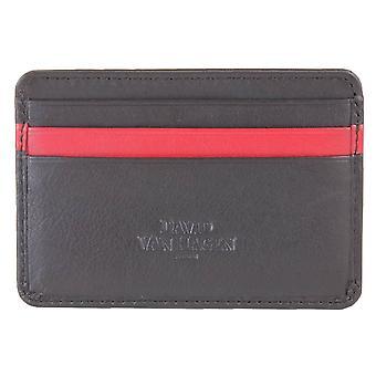David Van Hagen 7 Credit Stripe Card Holder - Black/Red