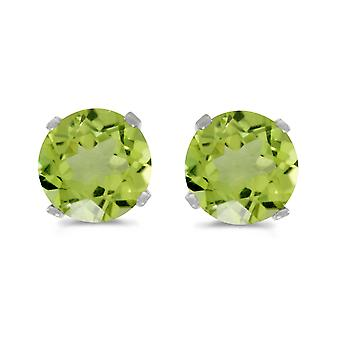 LXR 5mm Natural Round Peridot Plug Earrings Set in 14k White Gold 0.82ct